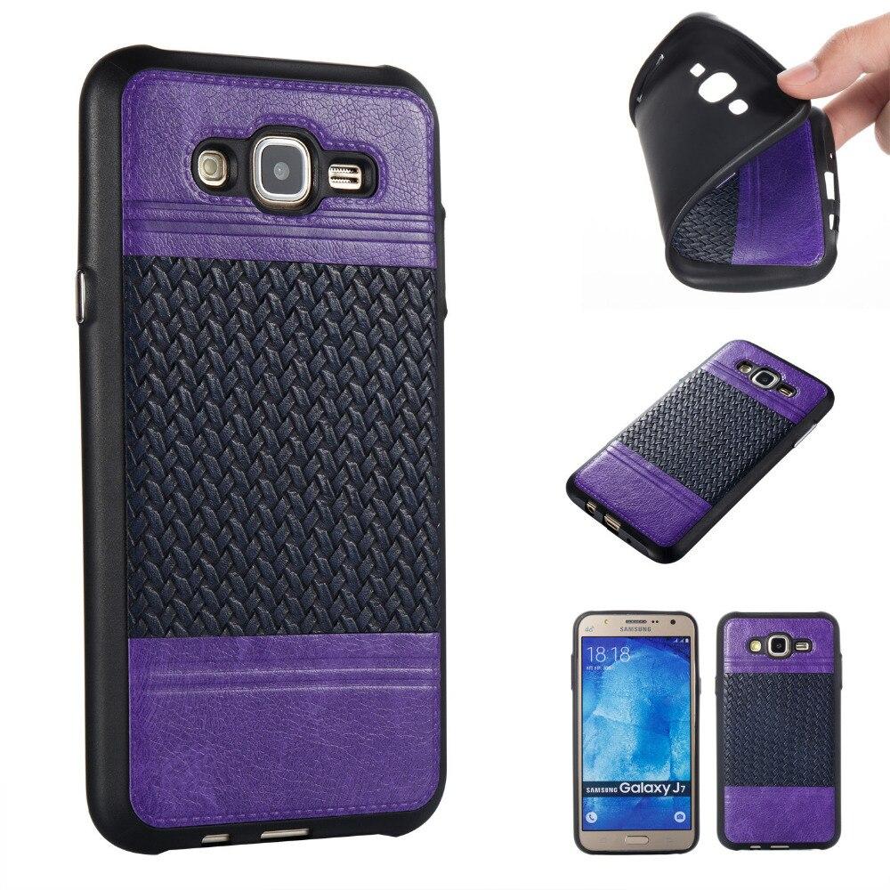 Deluxe переплетения мягкой ТПУ с кожа обложка кожа чехол для Samsung Galaxy <font><b>J7</b></font> J7008 J700F 2015 5.5&#8243; телефон Coque Fundas