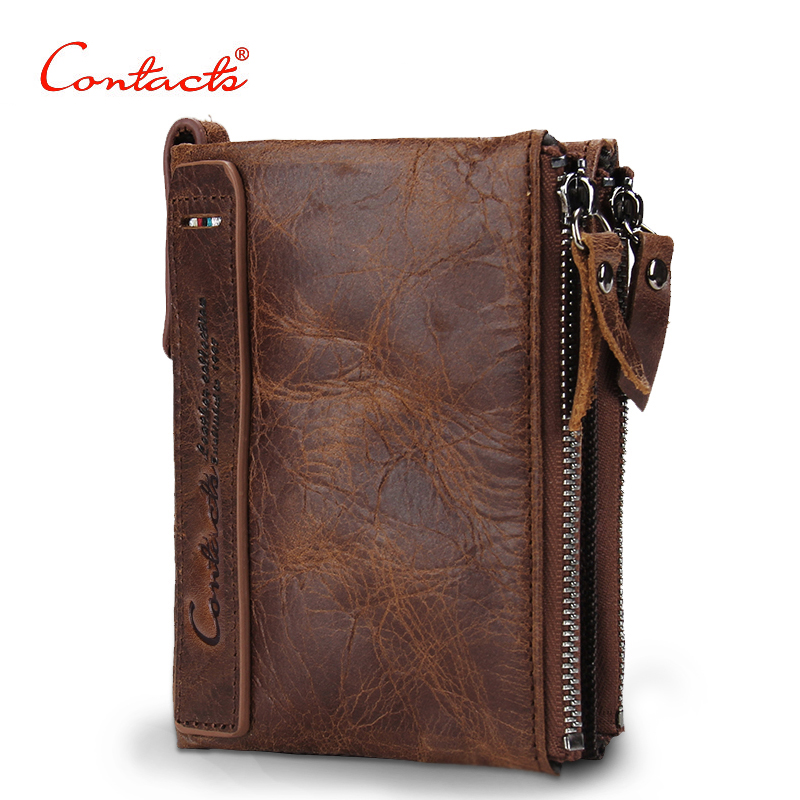 CONTACT'S Genuine Crazy Horse Leather Men Wallet Short Coin Purse Small Vintage Wallets Brand High Quality Designer carteira baellerry small mens wallets vintage dull polish short dollar price male cards purse mini leather men wallet carteira masculina