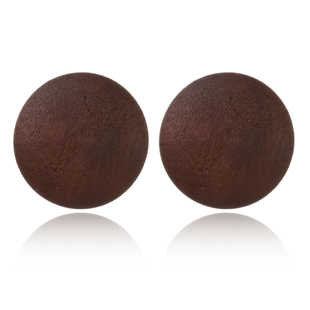 Round Simple Wooden Color Stud Earrings