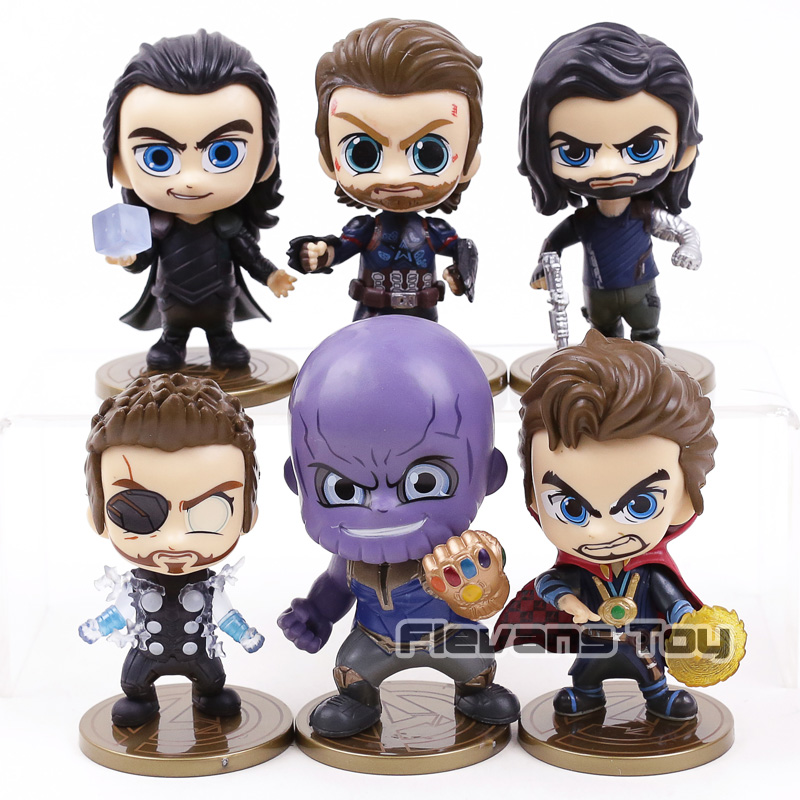 Marvel Avengers Infinity War Thanos Thor Loki Captain America Doctor Strange Bucky Barnes Figures Toys Car Decoration 6pcs/set