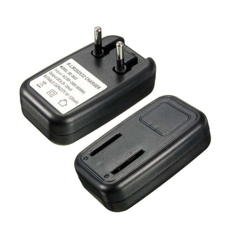 1 pc AC100-250V Coin batterie chargeur Noir Pile Bouton Batterie Voyage Chargeur Pour LIR2032 2025 UE Plug