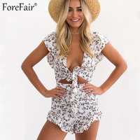 ForeFair Holiday Style Sexy Lace Up Print Rompers Womens Jumpsuit Ruffles Backless Beach Bodysuit Women