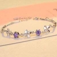 Clover Bracelet Inlaid With Zircon P925 Sterling Silver Bracelet Ladies Korean Version