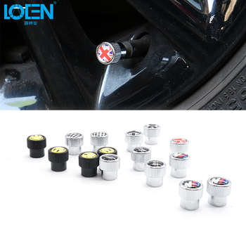 4pcs/lot Car Wheel Tire Valve Air Caps Alloy UK Flag Smile Face Universal For R Line BMW Audi Alfa Opel Renault Car-styling image