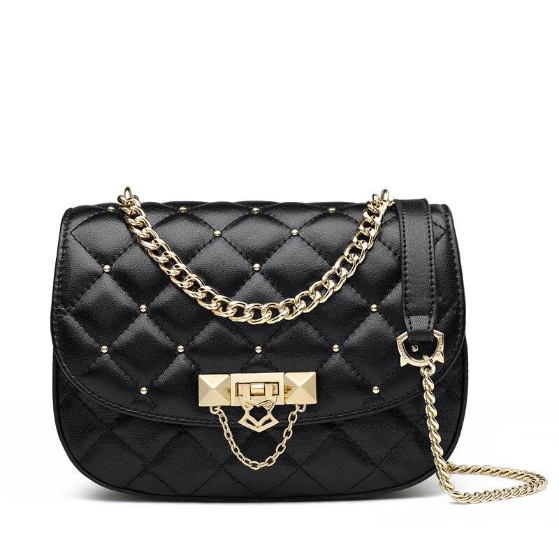 цена Fashion rhombic plaid design crossbody bags for women bag beautiful rivet pattern decorated chain women messenger bags