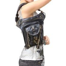 Vairumtirdzniecības Lady kabatas Retro Messenger Bag Punk Vīriešu augstas kvalitātes PU ādas Travel Leg Bag Sieviešu plecu soma