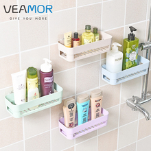 VEAMOR Hollow out Design Bathroom Storage Rack Super Glue PP Plastic Wall Absorption Bathroom Toiletries Bottle Storage Rack
