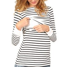 Women Mom Pregnant Nursing Baby Maternity Long Sleeved Stripe Tops Blouse Clothe breastfeeding dress fine pregnancy clothes new(China)