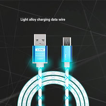 Illuminate USB Cable Data Sync Charger Cord Fabric For Android Phone LED Light Micro USB Charger Cable Charging Cord For Samsung(China)