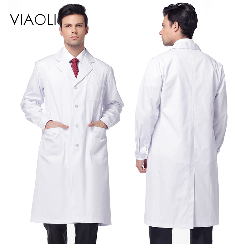 VIAOLI Unisex White Medical Coat Clothing Medical Services Uniform Nurse Clothing Long-sleeve Polyester Protect Lab Coats Gown