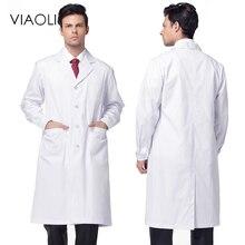 VIAOLI, унисекс, белое медицинское пальто, одежда, медицинские услуги, Униформа, одежда для медсестер, длинный рукав, полиэстер, защита, лабораторные пальто, платье