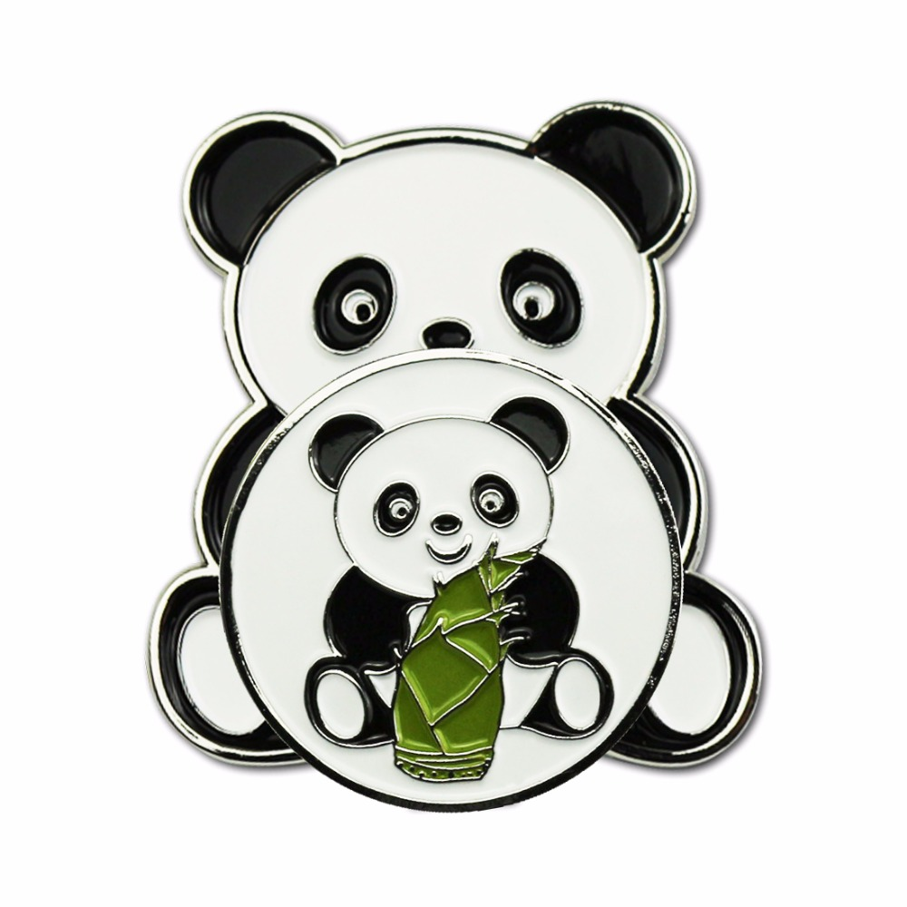 PINMEI Panda Golf Ball Marks Golf Hat Clips Sets Embossied Cap Clips And Banboo Golf Markers Golf Aids For Lady/Children Golfers