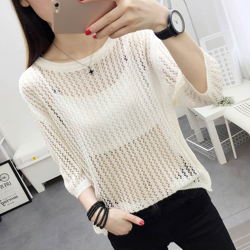 dfd6fe15ddcd Spring Summer Tops Women New Casual O Neck White Sweaters Sexy Holes Loose  Sweater Pierced Hook Flower Student Blouses Top-in Pullovers from Women s  ...