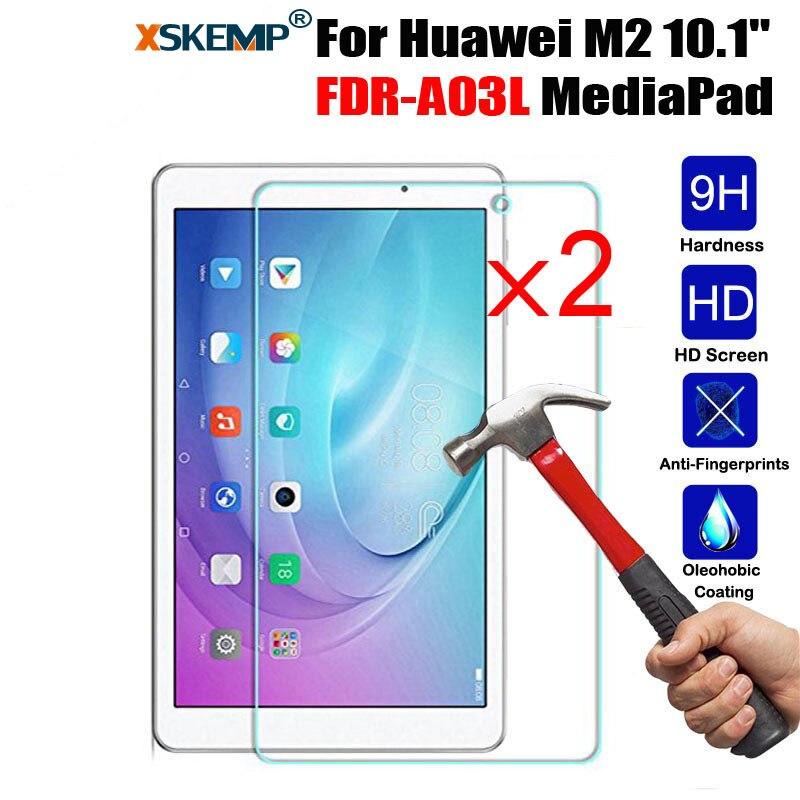 XSKEMP 2 Pcs/Lot 9 H En Verre Trempé Pour Huawei M2 10.1 FDR-A03L MediaPad Ultra Clear Écran Protecteur Tablet Film De Protection garde