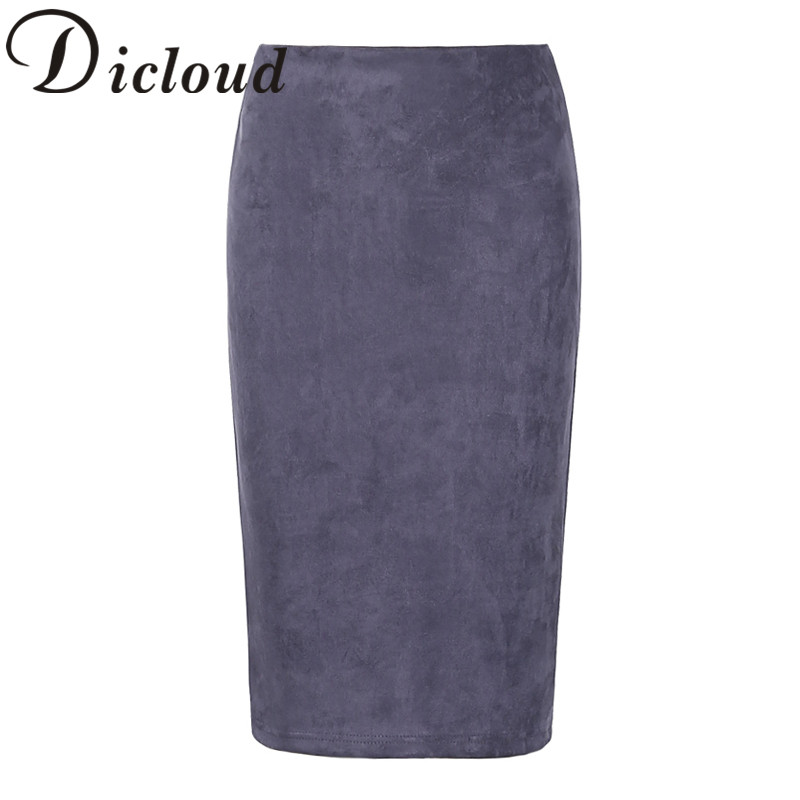 KAYWIDE 2020 Women Suede Midi Skirt Female Spring Summer Multi Color Basic Tube Bodycon Pencil Skirts Saia Femininas S161207