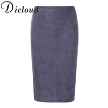 KAYWIDE 2017 Women Suede Midi Skirt Female Spring Summer Multi Color Basic Tube Bodycon Pencil Skirts