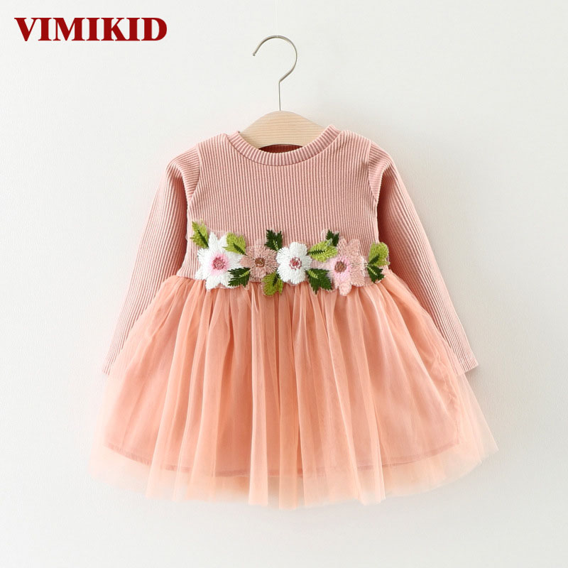 VIMIKID 2017 new Spring and Autumn dress for baby girls long sleeve Embroidery Flowers Mesh tutu dress children clothing toddler