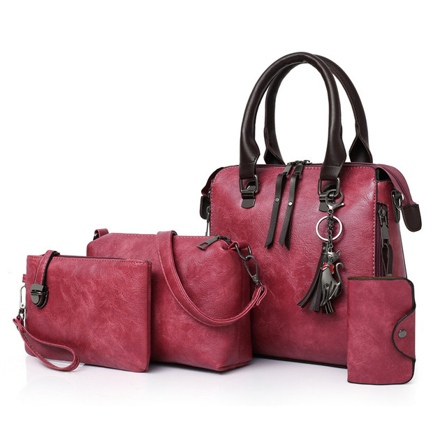 4 pcs Set Genuine leather Ladies Handbags 3