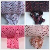 5 kolory 5/8 cala foe Valentine red Folia serce wydrukowano fold over elastic dla akcesoriów do włosów