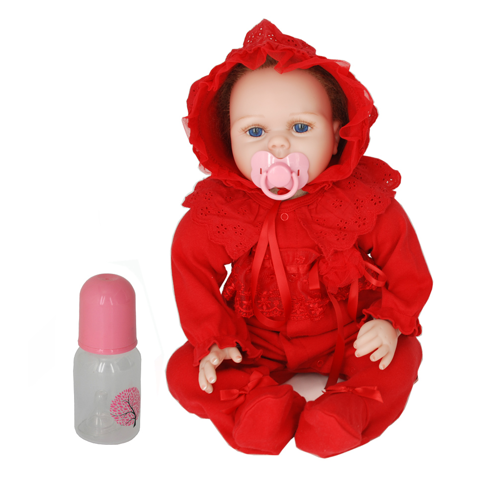NicoSeeWonder 22 Inch Bonecas Bebe Reborn Baby Dolls Cotton Body Lifelike Reborn Toddler Blue Eyes Toy With Red Clothes For Gift short curl hair lifelike reborn toddler dolls with 20inch baby doll clothes hot welcome lifelike baby dolls for children as gift