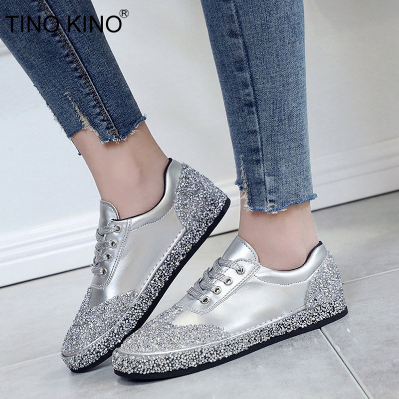 TINO KINO Women Lace Up Flat Autumn Vulcanize Shoes Ladies Brand Crystal New Bling Casual Shoes Fema