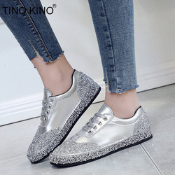 TINO KINO Women Lace Up Flat Autumn Vulcanize Shoes Ladies Brand Crystal New Bling Casual Shoes Female Fashion Comfort Footwear