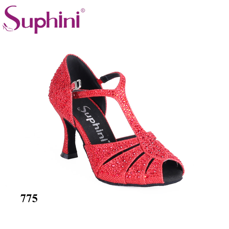 Suphini Salsa Latin Ballroom Dance Shoes Red Glitter Crystal Dance Shoes Free Shipping 7 color touch lotus 3d colorful night light strange stereoscopic visual illusion lamp led lamp decor light as flower arrangement