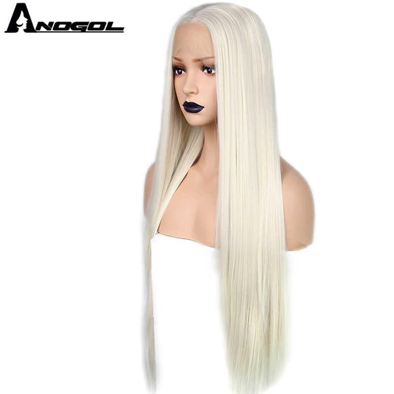 Anogol Lange Natürliche Gerade Weiß Blonde Glueless Hohe Temperatur Faser Mittleren Teil Synthetische Spitze Vorne Perücke Für Frauen