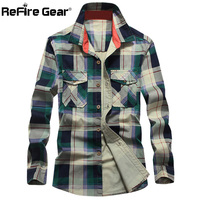ReFire Gear Spring Plaid Long Sleeve Shirt Men Breathable Quick Dry Casual Pockets Shirt Male Fashion Autumn Check Cotton Shirts