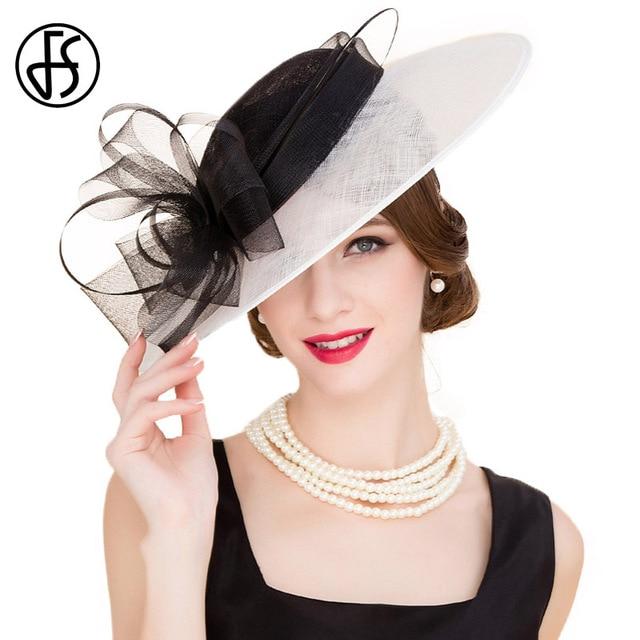 059ea0695e486 FS señoras elegantes boda del sombrero blanco negro Flor de ala ancha  Fedora Lino mujeres de