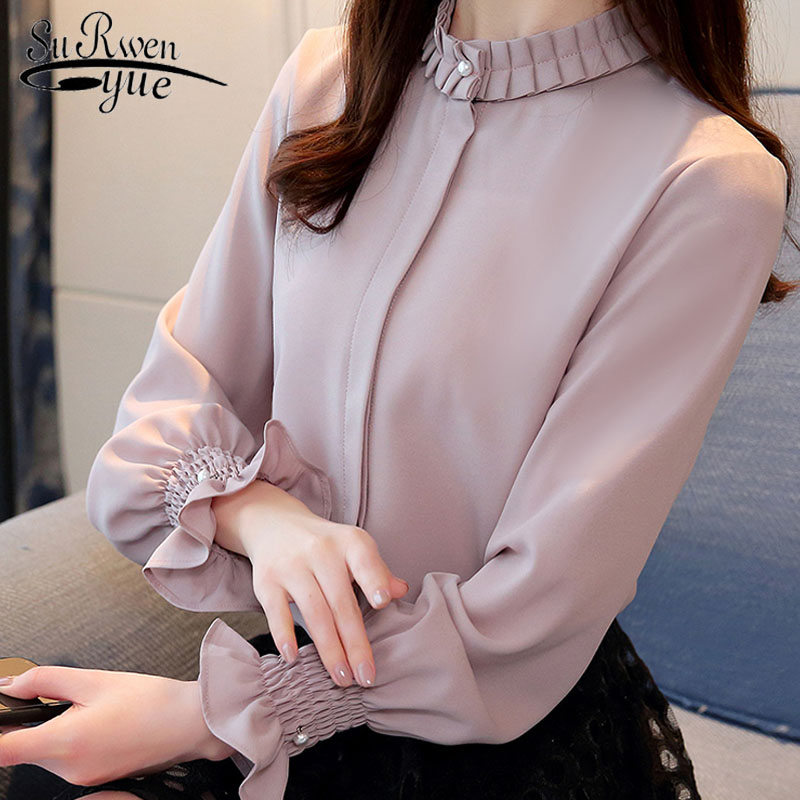 Spring 2019 fashion women   blouses     shirts   OL chiffon   blouse   long-sleeved womens tops and   blouses   solid female clothes 1016 40
