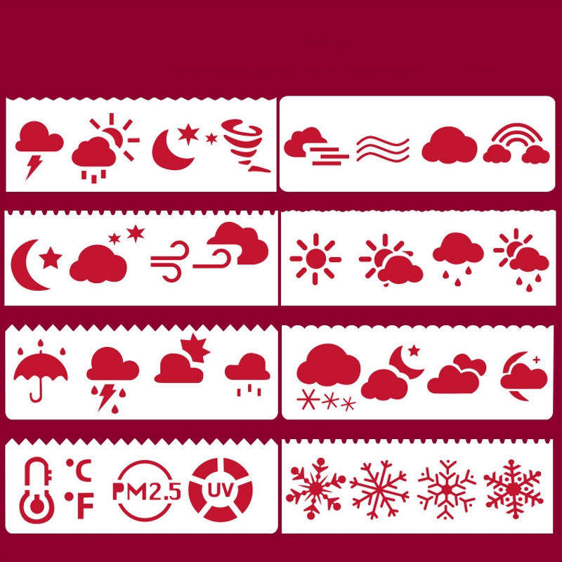 8Pcs 17*6cm Weather Cloud Snow DIY Layering Stencils Painting Scrapbook Coloring Embossing Album Decorative Card Template