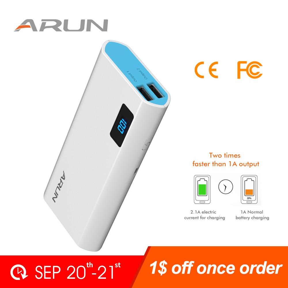 Arun Power Bank 10000 mah usb batterie power ladegerät batterie Power Externe Batterie Ladegerät Für Handys Poverbank fall