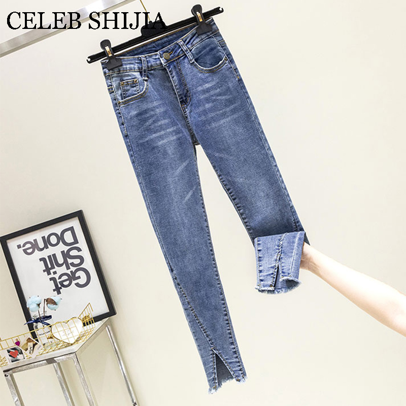 2019 Autumn Womans Jeans Pants Blue Color Ankle-length Skinny Korean Pencil Pant For Female Denim Plus Size  9981