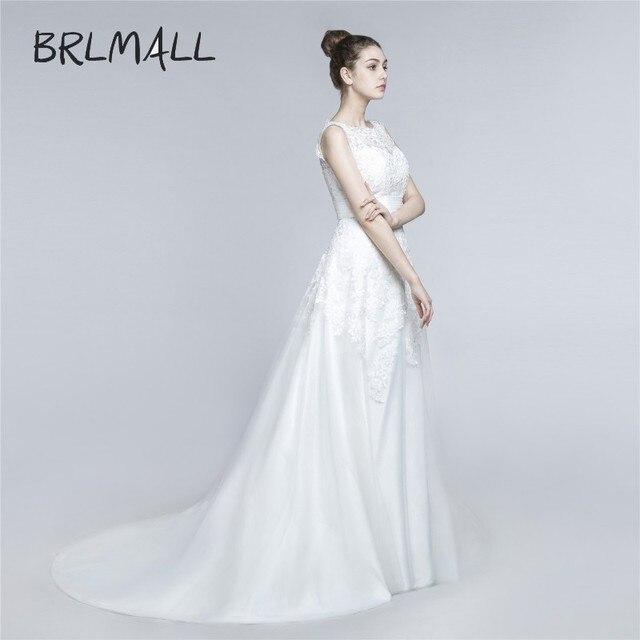 BRLMALL Women\'s Applique White Full Lace Detachable Wedding Dress ...