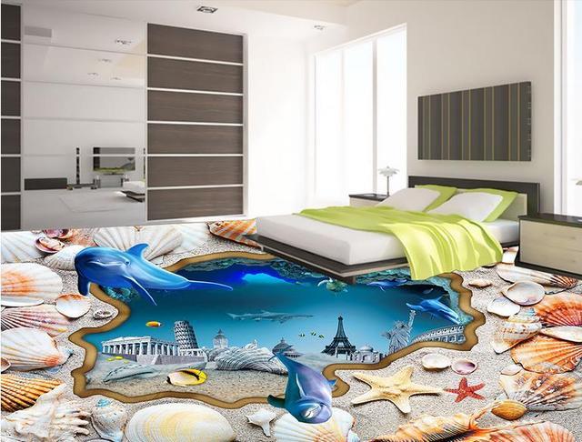Fashion 3d Floor Luxury Wall Paper Empty Island Wood Corridor 3d