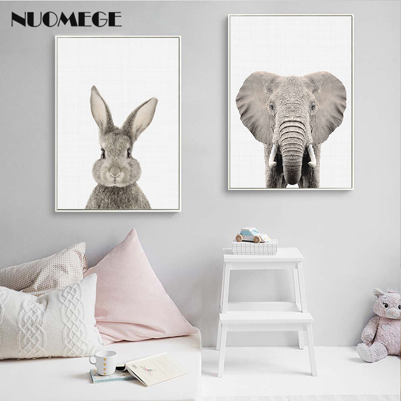 NUOMEGE Baby Animal Poster Panda Giraffe Elephant Canvas Painting Nursery Wall Art Nordic Picture Kid s NUOMEGE Baby Animal Poster Panda Giraffe Elephant Canvas Painting Nursery Wall Art Nordic Picture Kid's Bedroom Decoration