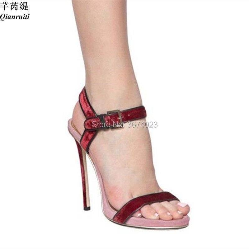 Verano Stilettos Retazos Correa Sandalias Zapatos Mujeres color De Abierta Plataformas Tacones Mezclados 1 Básicas 120mm 2 Moda Punta Qianruiti Colores Color nqIvEpn