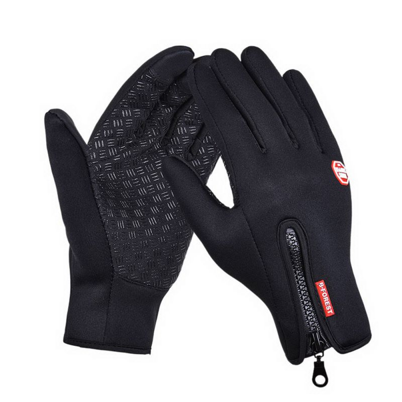 Sports Thick Zipper Full Finger Fixed Gear Cycling Gloves For Riding MTB Road Bike Bicycle Motorcycle Skiing Gloves Men Women