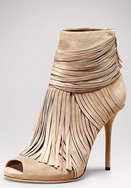 960f6748b4 Hottest Venda Mulheres Borla Sapatos Preço Barato Preto Bege Franja de  Camurça Ankle Boots Peep Toe