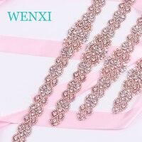 WENXI (5 stks) Groothandel Handgemaakte Kralen Rose Gold Strass Applicaties Clear Crystal Naaien Op Voor Dress Sash DIY Bridal Accessoire