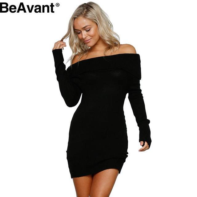 b240a8b92d6 BeAvant Winter off shoulder knitted bodycon dress Women long sleeve autumn  sexy dress Party short white dresses mini vestidos