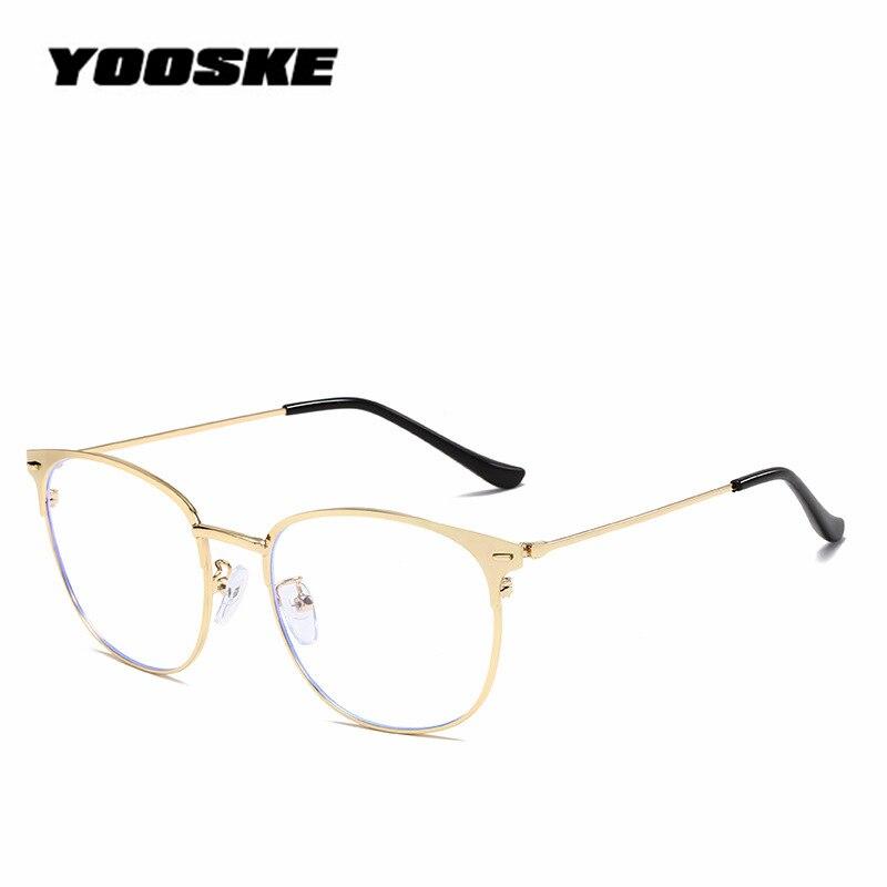 YOOSKE Round Filter Blue Light Women Glasses Frame Classic Cat Eyes Design Ultrallight Alloy Legs Unisex Glasses Anti-blue Light