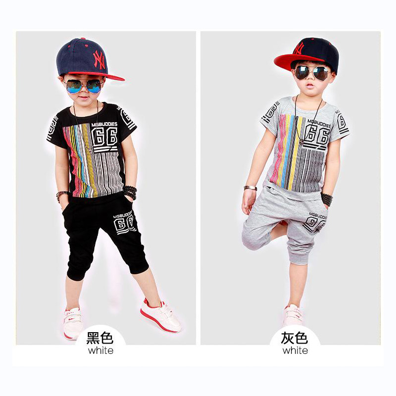 Korean version of children clothing set big virgin boy short sleeve suit children summer 2017 new baby boy clothes cotton suit