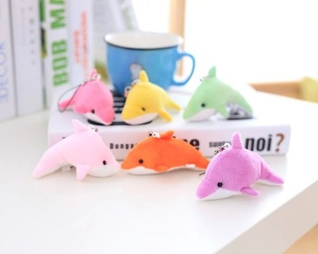 100pcs FREE shipping Lovely Plush Dolphin Keychain Key rings Mobile Phone Straps for Promotion Gifts