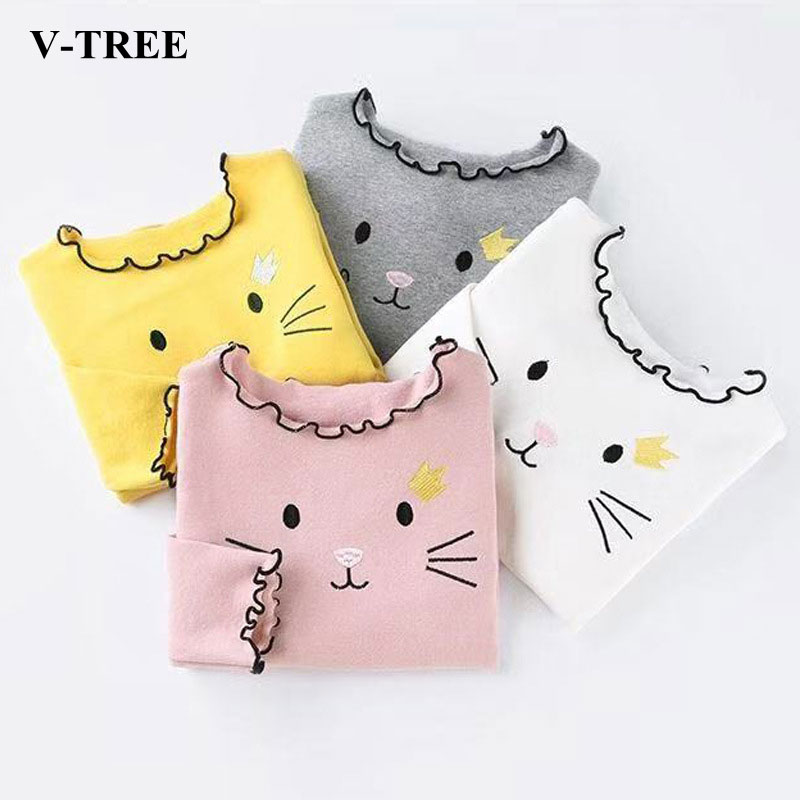 Spring Autumn Girls T Shirt Cotton Tops For Kids Cartoon Children Shirts Long Sleeve Baby Blouse Toddler Bottom Clothing