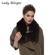 Lady Blinger faux fox fur scarf black tippet scarf with belt buckle decorative fur shawl women winter fur collar
