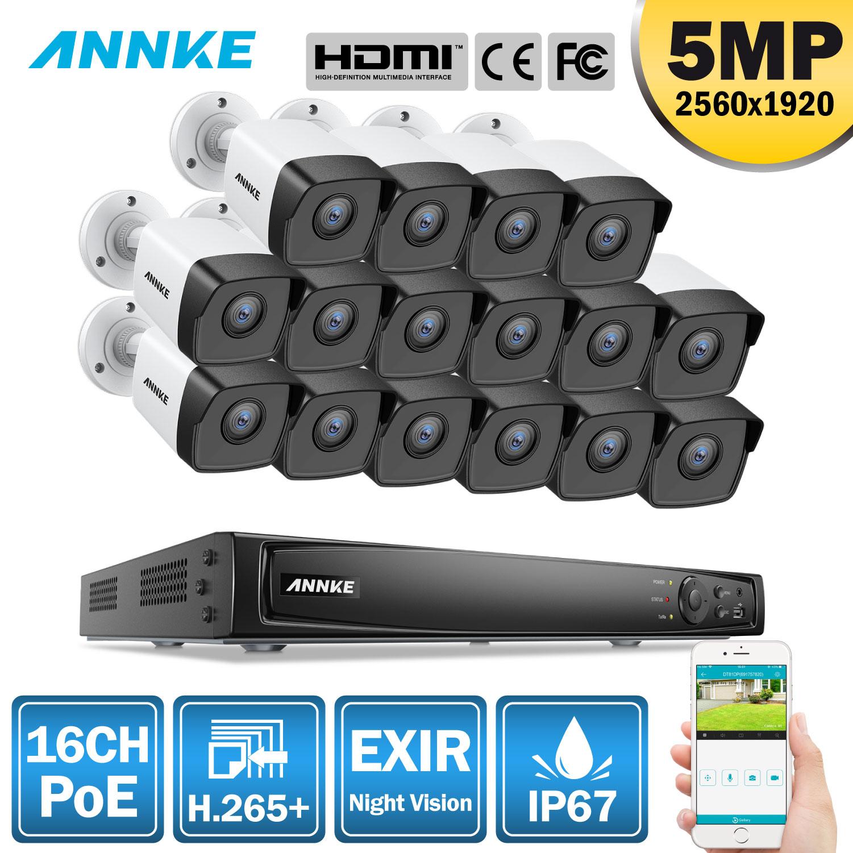 ANNKE 16CH HD 5MP POE Network Video Sistema di Sicurezza 8MP H.265 + NVR Con 16X5 MP 30m visione Notturna a colori Impermeabile del IP di WIFI Della Macchina Fotografica