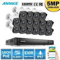 Système de sécurité vidéo réseau ANNKE 16CH HD 5MP POE 8MP H.265 + NVR avec caméra IP WIFI étanche 16X5 MP 30m couleur Vision nocturne