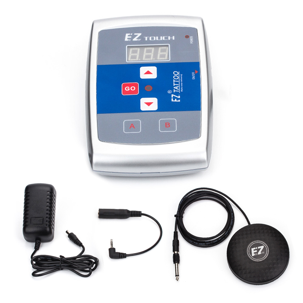EZ tatouage Machine d'alimentation numérique LCD tatouage Kit d'alimentation avec EZ pédale pédale commutateur au pied fournitures de tatouage 1 ensemble/lot